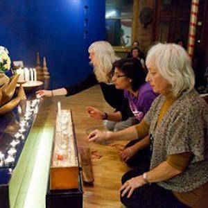 photo of women at shrine